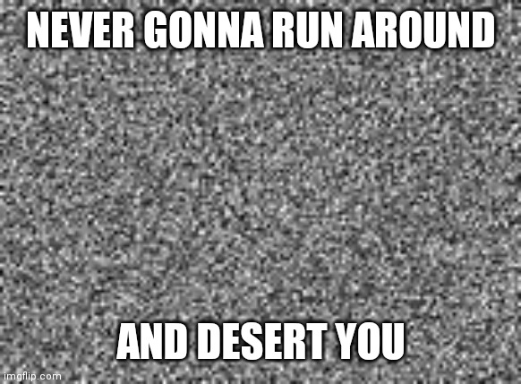 static | NEVER GONNA RUN AROUND AND DESERT YOU | image tagged in static | made w/ Imgflip meme maker