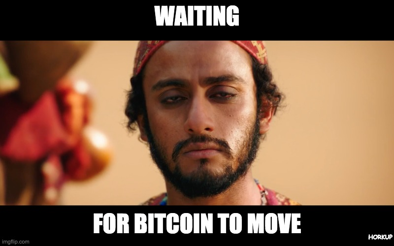 waiting for bitcoin to move |  WAITING; FOR BITCOIN TO MOVE; HORKUP | image tagged in silk road guy,bitcoin,cryptocurrency | made w/ Imgflip meme maker