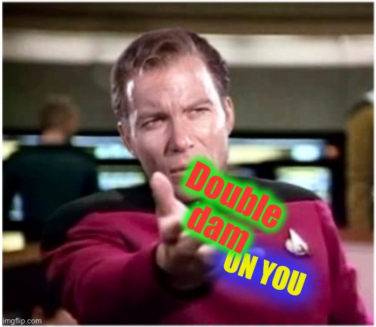 You big ninny |  Double dam; ON YOU | image tagged in kirky star trek | made w/ Imgflip meme maker