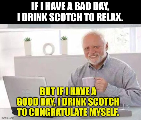 Scotch |  IF I HAVE A BAD DAY, I DRINK SCOTCH TO RELAX. BUT IF I HAVE A GOOD DAY, I DRINK SCOTCH TO CONGRATULATE MYSELF. | image tagged in harold | made w/ Imgflip meme maker
