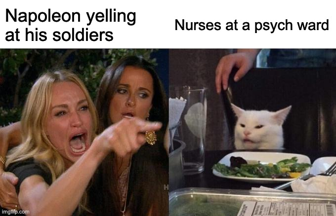 Woman Yelling At Cat |  Napoleon yelling at his soldiers; Nurses at a psych ward | image tagged in memes,woman yelling at cat,napoleon,psycho,irony | made w/ Imgflip meme maker