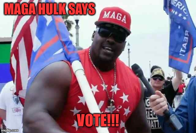 MAGA hulk says | MAGA HULK SAYS VOTE!!! | image tagged in maga hulk says | made w/ Imgflip meme maker