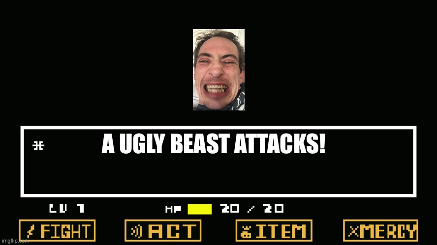 A Ugly Person Attacks! |  A UGLY BEAST ATTACKS! | image tagged in undertale battle | made w/ Imgflip meme maker