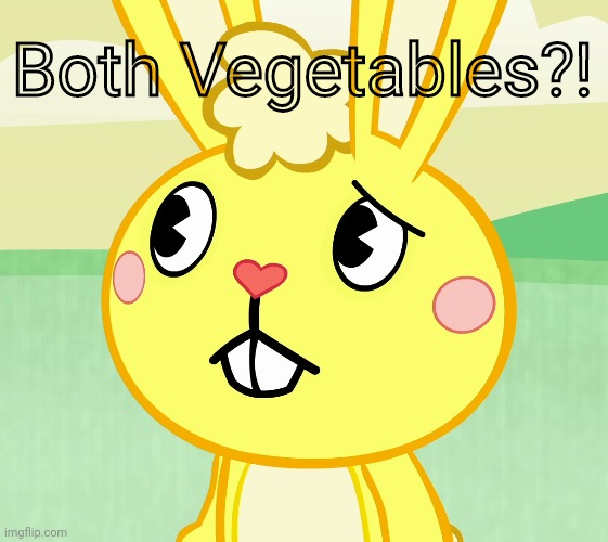 Confused Cuddles (HTF) | Both Vegetables?! | image tagged in confused cuddles htf | made w/ Imgflip meme maker