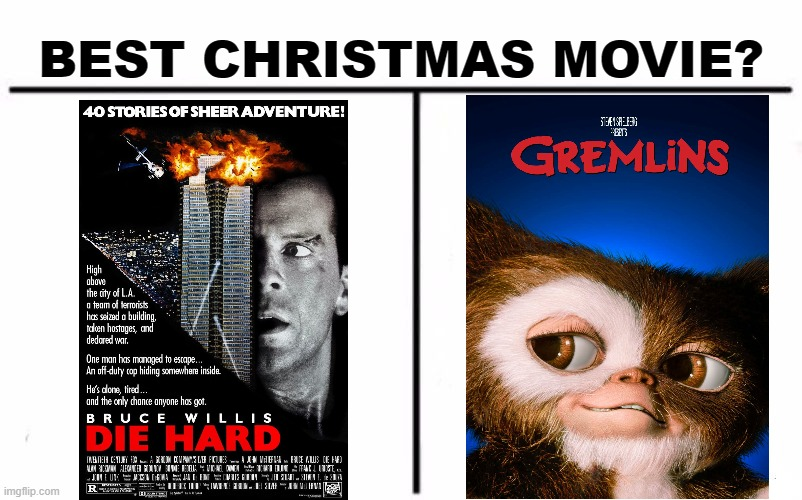 die hard VS gremins |  BEST CHRISTMAS MOVIE? | image tagged in memes,who would win,christmas,die hard,gremlins,movies | made w/ Imgflip meme maker