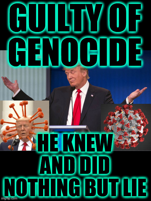 Most of nearly 200,000 American deaths were avoidable, if Trump had done ANYTHING! He is responsible. Prosecute and execute him! |  GUILTY OF  GENOCIDE; HE KNEW AND DID NOTHING BUT LIE | image tagged in genocide,a liar and a murderer,trump killed americans,trump is an asshole,trump unfit unqualified dangerous,covid 19 | made w/ Imgflip meme maker
