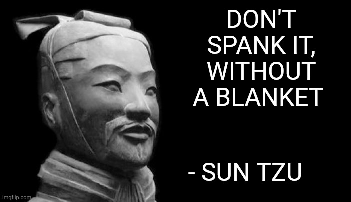Word to the Wise |  DON'T SPANK IT, WITHOUT A BLANKET; - SUN TZU | image tagged in sun tzu,memes | made w/ Imgflip meme maker