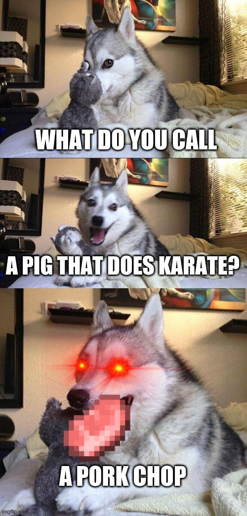 oof |  WHAT DO YOU CALL; A PIG THAT DOES KARATE? A PORK CHOP | image tagged in memes,bad pun dog | made w/ Imgflip meme maker