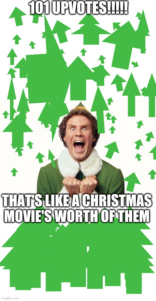 Thanks |  101 UPVOTES!!!!! THAT'S LIKE A CHRISTMAS MOVIE'S WORTH OF THEM | image tagged in buddy the elf excited | made w/ Imgflip meme maker