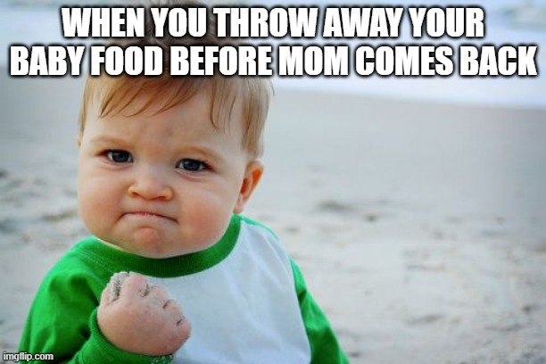 Success Kid Original Meme |  WHEN YOU THROW AWAY YOUR BABY FOOD BEFORE MOM COMES BACK | image tagged in memes,success kid original | made w/ Imgflip meme maker