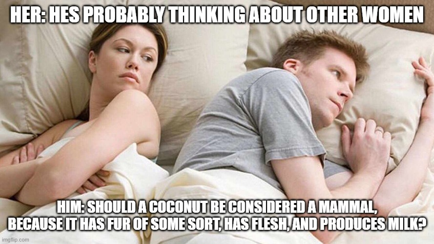 I bet he's thinking about other women  |  HER: HES PROBABLY THINKING ABOUT OTHER WOMEN; HIM: SHOULD A COCONUT BE CONSIDERED A MAMMAL, BECAUSE IT HAS FUR OF SOME SORT, HAS FLESH, AND PRODUCES MILK? | image tagged in i bet he's thinking about other women | made w/ Imgflip meme maker