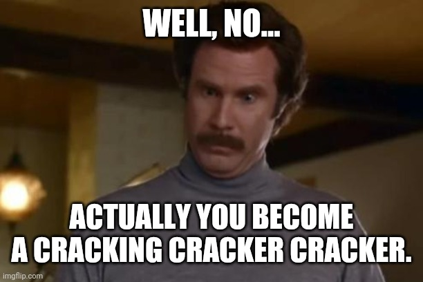 actually im not even mad | WELL, NO... ACTUALLY YOU BECOME A CRACKING CRACKER CRACKER. | image tagged in actually im not even mad | made w/ Imgflip meme maker