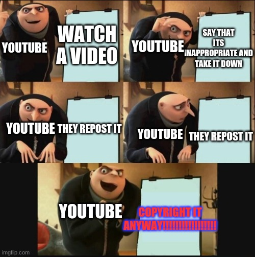i like crapposting |  SAY THAT ITS INAPPROPRIATE AND TAKE IT DOWN; WATCH A VIDEO; YOUTUBE; YOUTUBE; THEY REPOST IT; YOUTUBE; THEY REPOST IT; YOUTUBE; YOUTUBE; COPYRIGHT IT ANYWAY!!!!!!!!!!!!!!!!! | image tagged in gru's plan 5 panel editon | made w/ Imgflip meme maker