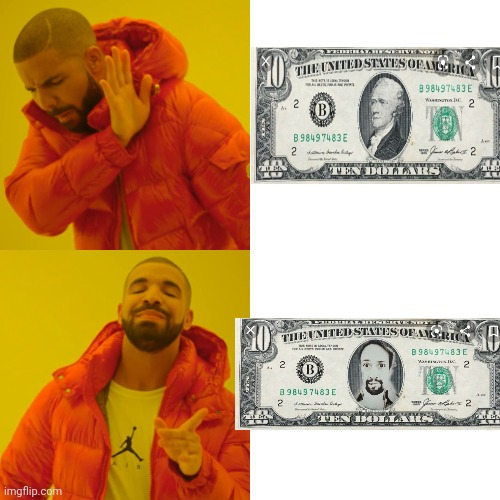 No hate on Lin Man. Just a Hamilton Joke. | image tagged in memes,drake hotline bling | made w/ Imgflip meme maker