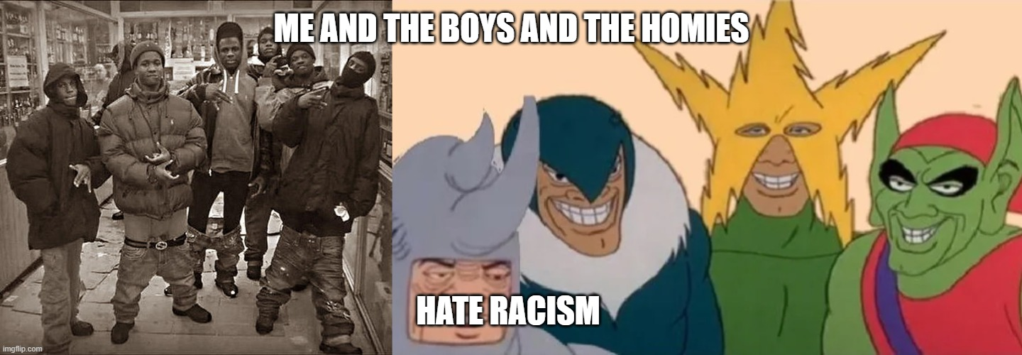 i hate racism and so should you |  ME AND THE BOYS AND THE HOMIES; HATE RACISM | image tagged in all my homies hate | made w/ Imgflip meme maker