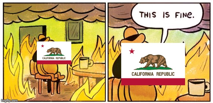 California Fires in a Nutshell | image tagged in memes,this is fine | made w/ Imgflip meme maker