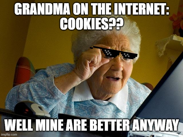Yess Grandma |  GRANDMA ON THE INTERNET: COOKIES?? WELL MINE ARE BETTER ANYWAY | image tagged in memes,grandma finds the internet,cookies,internet,grandma | made w/ Imgflip meme maker