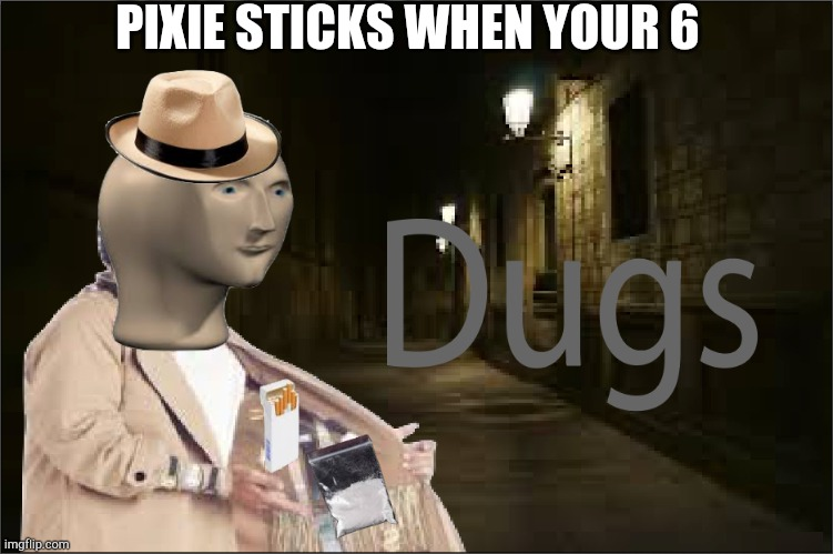 Dugs |  PIXIE STICKS WHEN YOUR 6 | image tagged in dugs | made w/ Imgflip meme maker