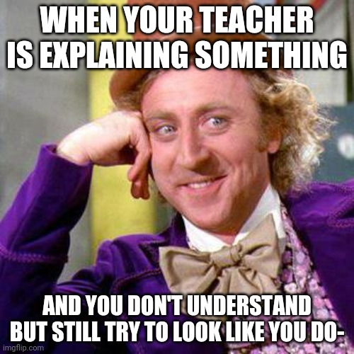 Willy Wonka Blank |  WHEN YOUR TEACHER IS EXPLAINING SOMETHING; AND YOU DON'T UNDERSTAND BUT STILL TRY TO LOOK LIKE YOU DO- | image tagged in willy wonka blank | made w/ Imgflip meme maker