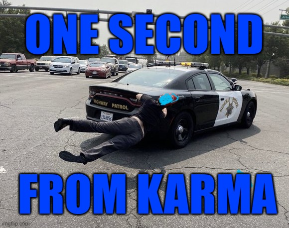 one second from karma |  ONE SECOND; FROM KARMA | image tagged in karma,stupid,back the police,police,2020 | made w/ Imgflip meme maker