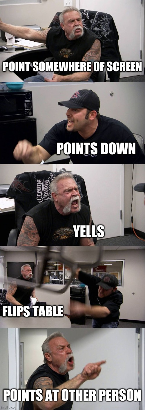 American Chopper Argument Meme |  POINT SOMEWHERE OF SCREEN; POINTS DOWN; YELLS; FLIPS TABLE; POINTS AT OTHER PERSON | image tagged in memes,american chopper argument | made w/ Imgflip meme maker