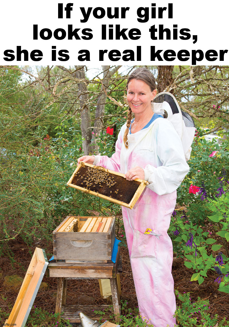 Sure it is a bad pun. |  If your girl looks like this, she is a real keeper | image tagged in bees,keep it real,bad pun,dating | made w/ Imgflip meme maker