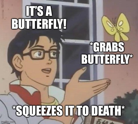 When you see a butterfly... |  IT'S A BUTTERFLY! *GRABS BUTTERFLY*; *SQUEEZES IT TO DEATH* | image tagged in memes,is this a pigeon | made w/ Imgflip meme maker