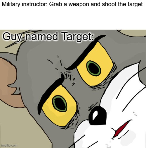 Stop shooting Target. |  Military instructor: Grab a weapon and shoot the target; Guy named Target: | image tagged in memes,unsettled tom | made w/ Imgflip meme maker