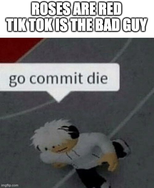 Roblox Go Commit Die | ROSES ARE RED TIK TOK IS THE BAD GUY | image tagged in roblox go commit die | made w/ Imgflip meme maker