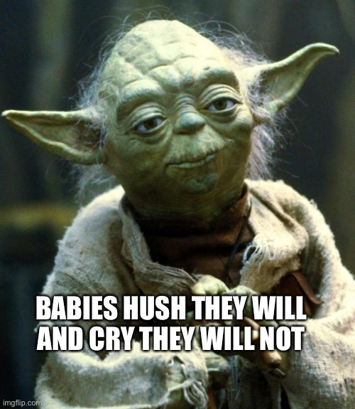 Star Wars Yoda Meme | BABIES HUSH THEY WILL AND CRY THEY WILL NOT | image tagged in memes,star wars yoda | made w/ Imgflip meme maker