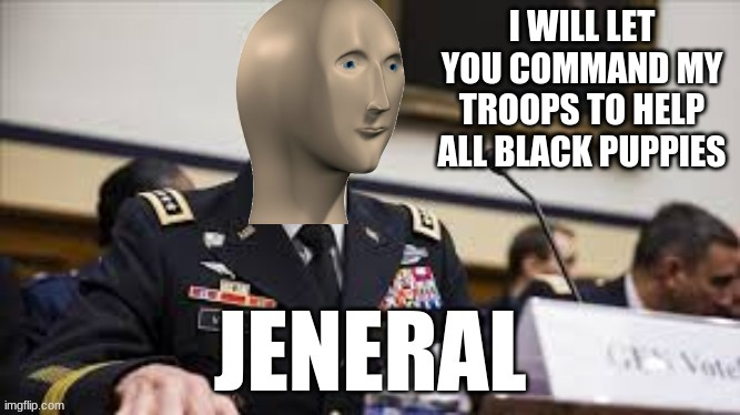 meme man jeneral | I WILL LET YOU COMMAND MY TROOPS TO HELP ALL BLACK PUPPIES | image tagged in meme man jeneral | made w/ Imgflip meme maker