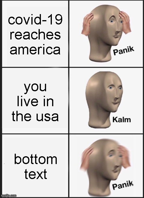 mememe |  covid-19 reaches america; you live in the usa; bottom text | image tagged in memes,panik kalm panik | made w/ Imgflip meme maker