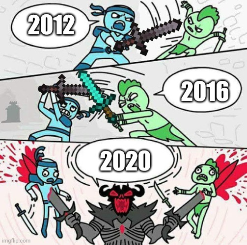 The war of the years |  2012; 2016; 2020 | image tagged in sword fight | made w/ Imgflip meme maker