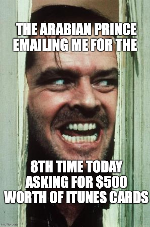 Here's Johnny |  THE ARABIAN PRINCE EMAILING ME FOR THE; 8TH TIME TODAY ASKING FOR $500 WORTH OF ITUNES CARDS | image tagged in memes,here's johnny | made w/ Imgflip meme maker