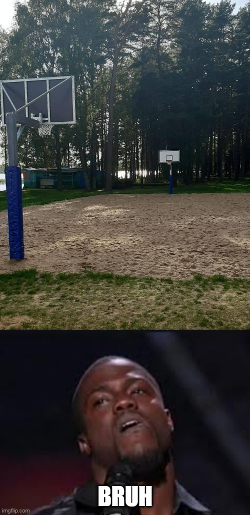 BASKETBALL IN SAND? |  BRUH | image tagged in bruh,memes,kevin hart,basketball,sand,fail | made w/ Imgflip meme maker