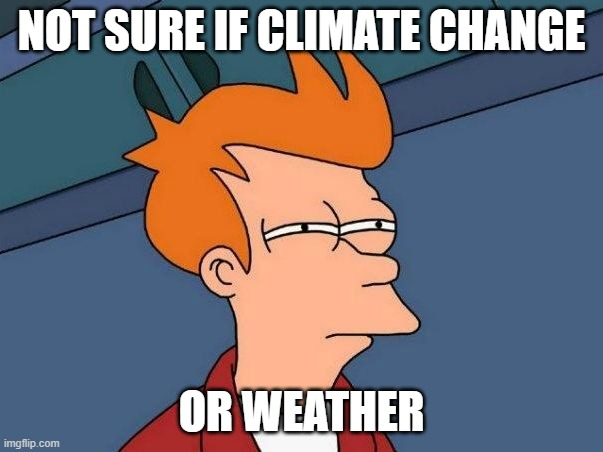 Not sure if Climate Change or Weather |  NOT SURE IF CLIMATE CHANGE; OR WEATHER | image tagged in not sure if- fry | made w/ Imgflip meme maker