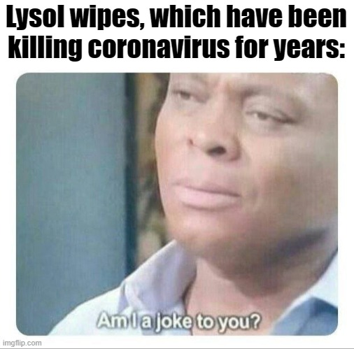 Lysol wipes, which have been killing coronavirus for years: | image tagged in am i a joke to you | made w/ Imgflip meme maker