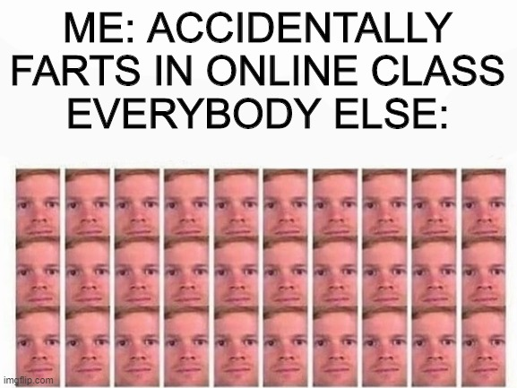 Yes |  ME: ACCIDENTALLY FARTS IN ONLINE CLASS EVERYBODY ELSE: | image tagged in image | made w/ Imgflip meme maker