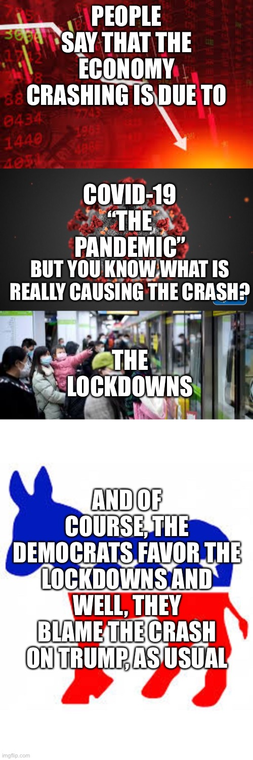 "So... |  PEOPLE SAY THAT THE ECONOMY CRASHING IS DUE TO; COVID-19 ""THE PANDEMIC""; THE LOCKDOWNS; BUT YOU KNOW WHAT IS REALLY CAUSING THE CRASH? AND OF COURSE, THE DEMOCRATS FAVOR THE LOCKDOWNS AND WELL, THEY BLAME THE CRASH ON TRUMP, AS USUAL 