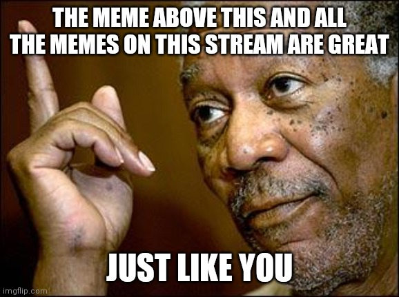 Mod note: I approved this because it is wholesome and true |  THE MEME ABOVE THIS AND ALL THE MEMES ON THIS STREAM ARE GREAT; JUST LIKE YOU | image tagged in this morgan freeman | made w/ Imgflip meme maker