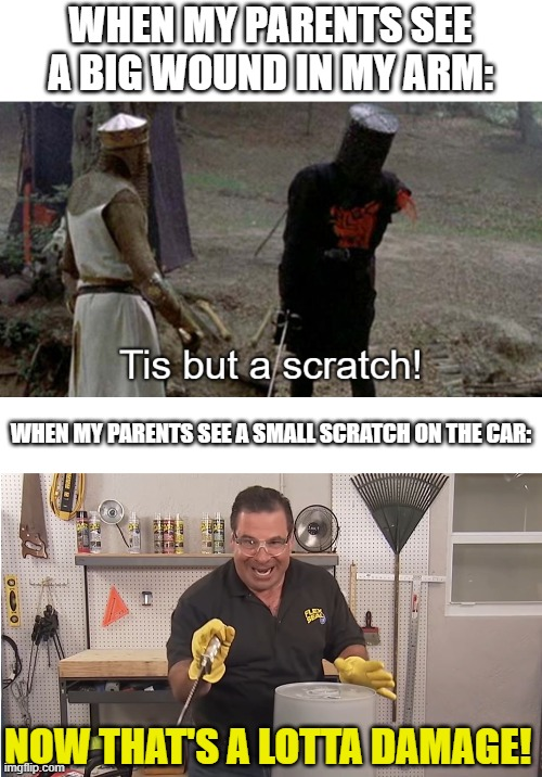 Now that's a lotta damage! |  WHEN MY PARENTS SEE A BIG WOUND IN MY ARM:; WHEN MY PARENTS SEE A SMALL SCRATCH ON THE CAR:; NOW THAT'S A LOTTA DAMAGE! | image tagged in phil swift that's a lotta damage flex tape/seal,tis but a scratch,memes | made w/ Imgflip meme maker