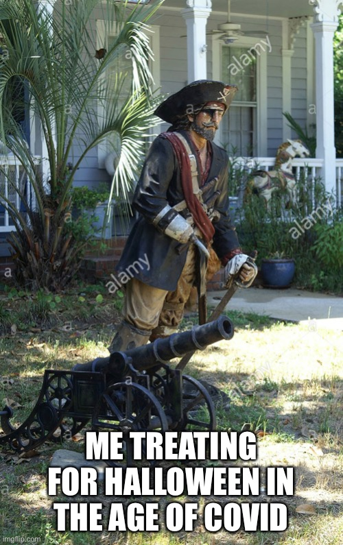 Gotta social distance |  ME TREATING FOR HALLOWEEN IN THE AGE OF COVID | image tagged in wife loves the cannon | made w/ Imgflip meme maker
