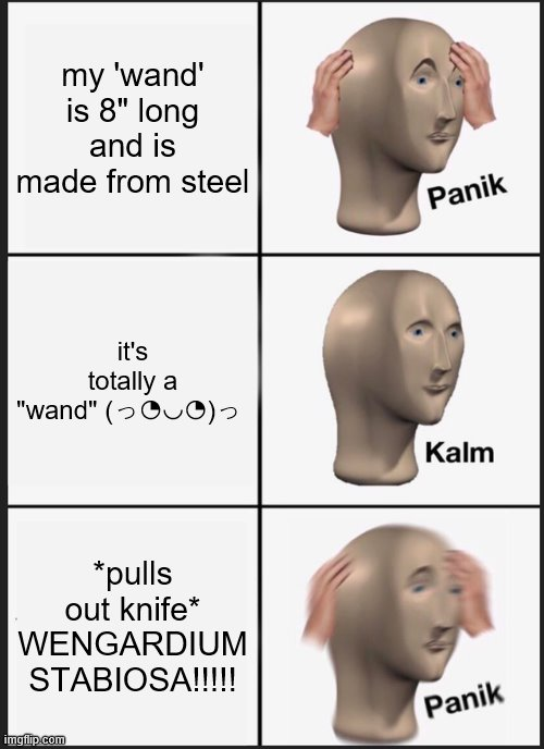 "Panik Kalm Panik |  my 'wand' is 8"" long and is made from steel; it's totally a ""wand"" (っ◔◡◔)っ; *pulls out knife* WENGARDIUM STABIOSA!!!!! 