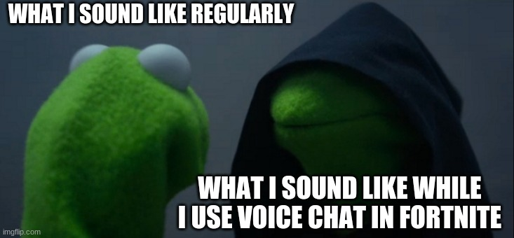 Evil Kermit Meme |  WHAT I SOUND LIKE REGULARLY; WHAT I SOUND LIKE WHILE I USE VOICE CHAT IN FORTNITE | image tagged in memes,evil kermit | made w/ Imgflip meme maker