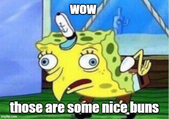 Mocking Spongebob Meme |  wow; those are some nice buns | image tagged in memes,mocking spongebob | made w/ Imgflip meme maker