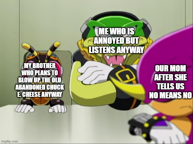 Mother Espio |  ME WHO IS ANNOYED BUT LISTENS ANYWAY; MY BROTHER WHO PLANS TO BLOW UP THE OLD ABANDONED CHUCK E. CHEESE ANYWAY; OUR MOM AFTER SHE TELLS US NO MEANS NO | image tagged in espio,sonic the hedgehog,my mom,evil sibling | made w/ Imgflip meme maker