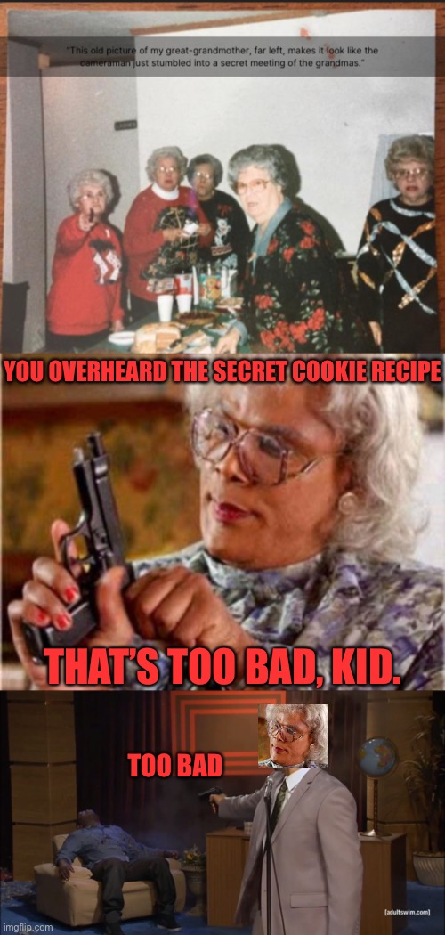 She had to destroy any evidence, whether she liked it or not. She was bound to grandma law |  YOU OVERHEARD THE SECRET COOKIE RECIPE; THAT'S TOO BAD, KID. TOO BAD | image tagged in memes,funny,funny memes,grandma,gun,dank memes | made w/ Imgflip meme maker