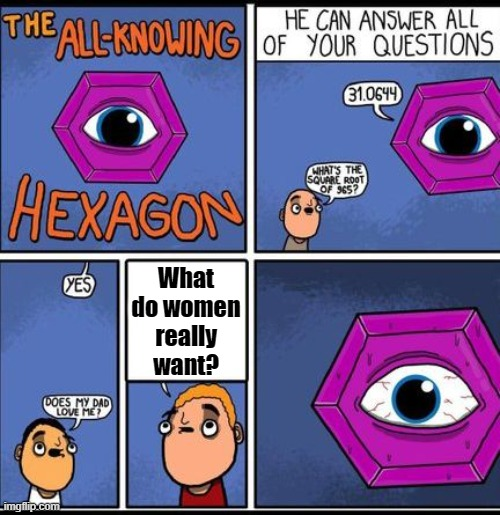 The Universe's Greatest Mystery |  What do women really want? | image tagged in all knowing hexagon,mystery,women | made w/ Imgflip meme maker