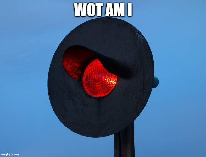 WOT AM I | image tagged in red train signal | made w/ Imgflip meme maker