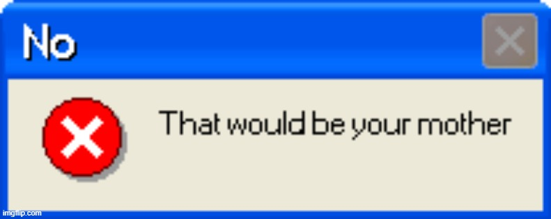 No that would be your mother error message | image tagged in no that would be your mother error message | made w/ Imgflip meme maker